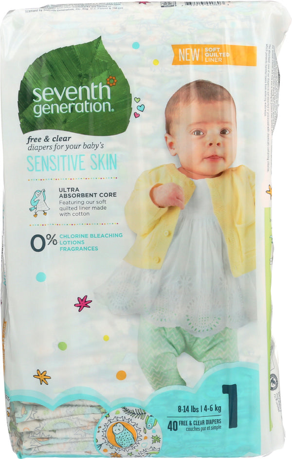 SEVENTH GENERATION: Baby Free & Clear Diapers Size 1 - 8-14 Pounds, 40 pc
