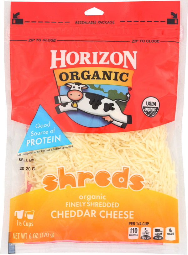 HORIZON: Organic Finely Shredded Cheddar Cheese, 6 oz