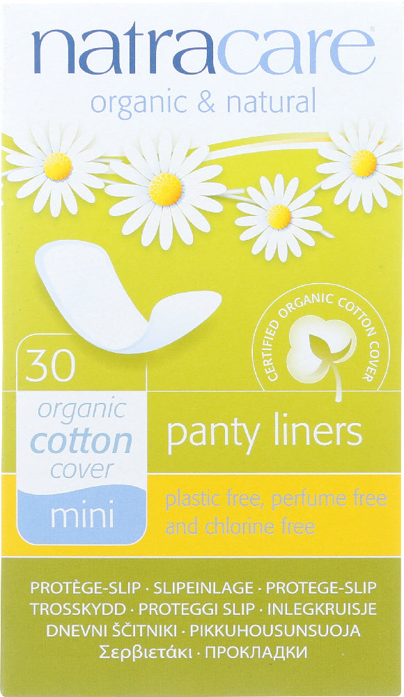NATRACARE: Organic and Natural Panty Liners Cotton Cover Mini, 30 Liners
