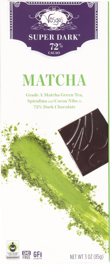 VOSGES HAUT: Matcha Green Tea & Spirulina Super Dark Chocolate Bar, 3 oz