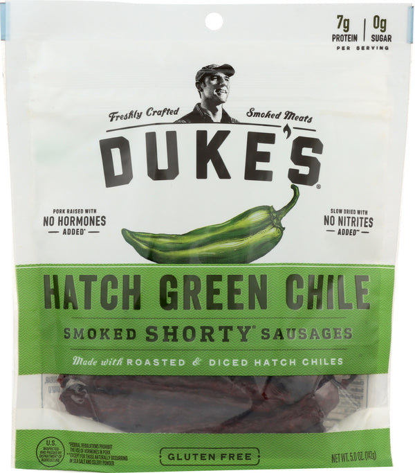DUKES: Hatch Green Chile Shorty Smoked Sausage, 5 oz