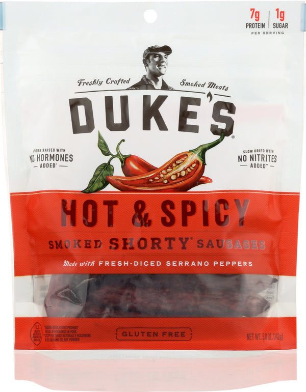 DUKES: Shorty Smoked Sausage Hot and Spicy, 5 oz