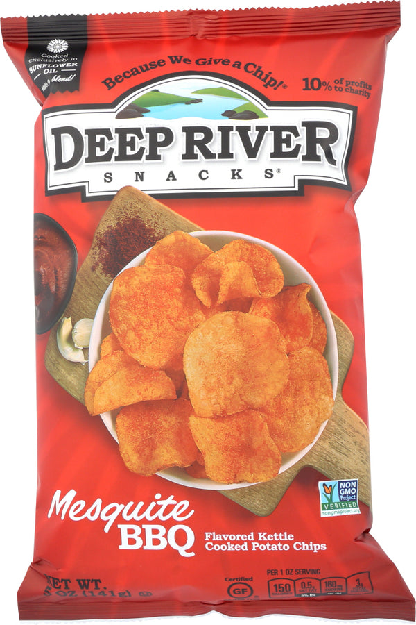 DEEP RIVER: Kettle Cooked Potato Chips Mesquite BBQ, 5 oz