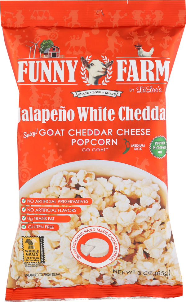 FUNNY FARMS: Goat Cheese Popcorn Jalapeño White Cheddar, 3 oz