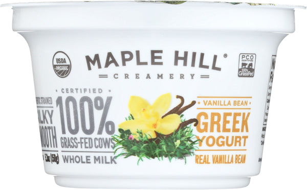 MAPLE HILL CREAMERY: Vanilla Bean Greek Yogurt, 5.3 oz