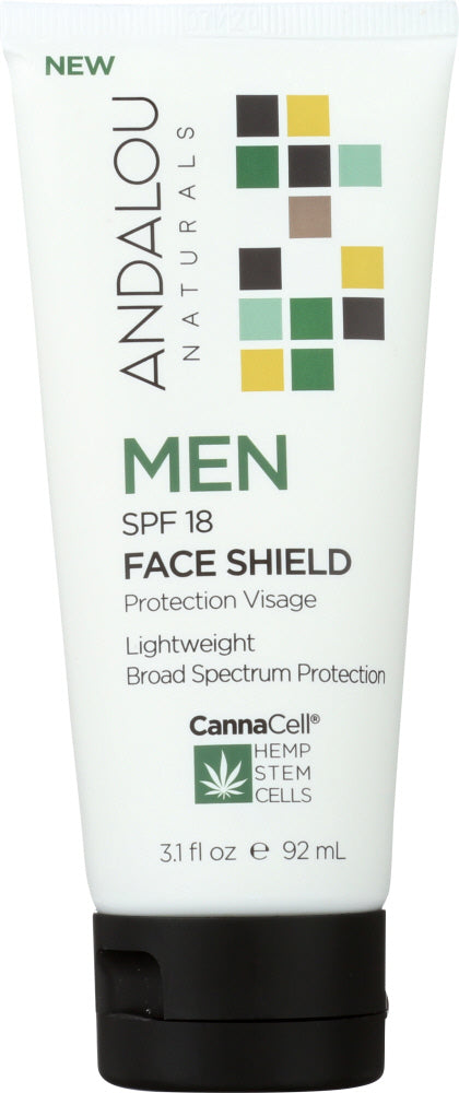ANDALOU NATURALS: Face Shield Men Spf 18 Lotion, 3.1 fo