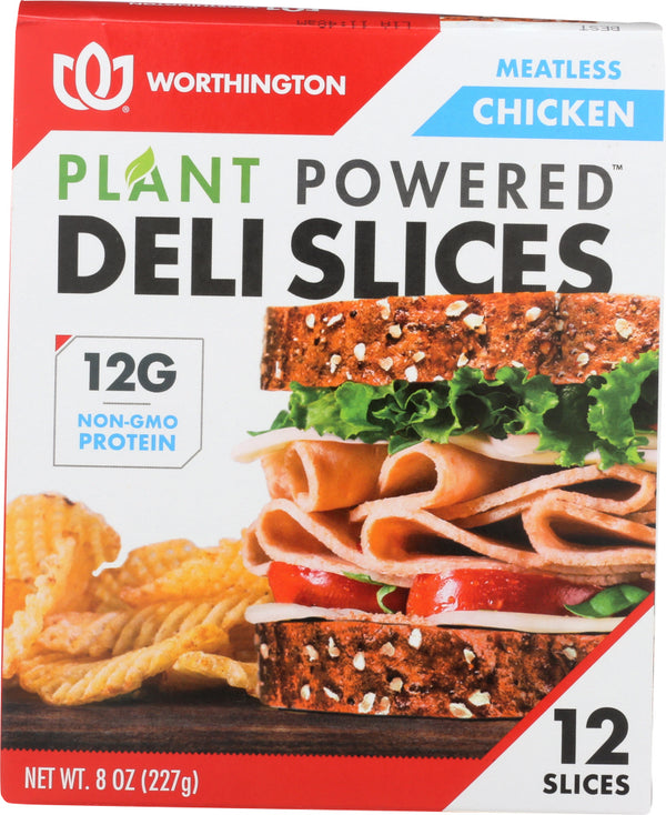 WORTHINGTON: Meatless Chicken Deli Slices, 8 oz