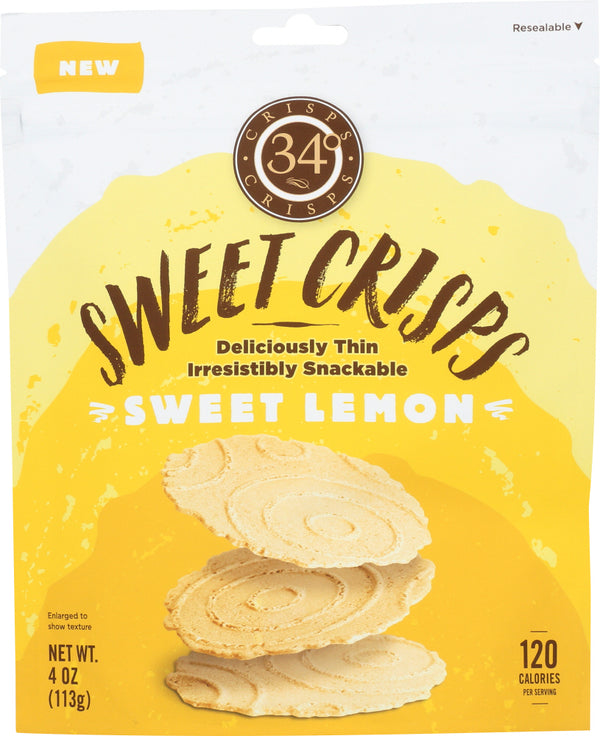 34 DEGREES: Sweet Lemon Crisps Bag, 4 oz