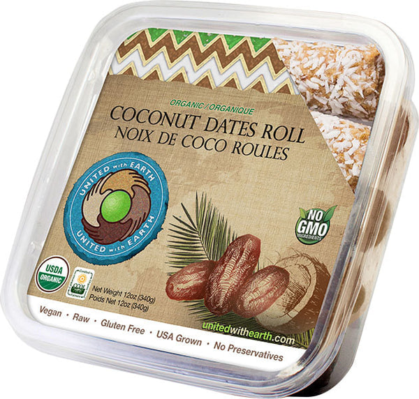 UNITED WITH EARTH: Organic Date Coconut Roll, 12 oz