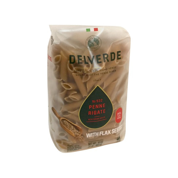 DEL VERDE: Penne Rigate with Flaxseed Pasta, 16 oz
