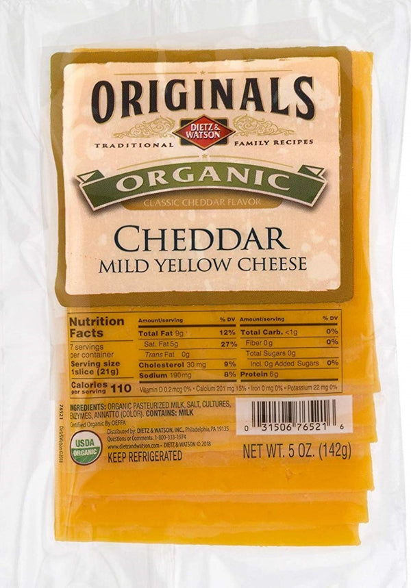 DIETZ AND WATSON: Cheddar Mild Yellow Pre-Sliced Cheese, 5 oz