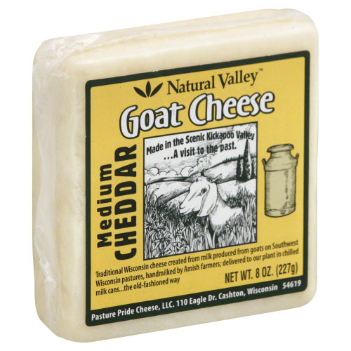 NATURAL VALLEY: Medium Cheddar Goat Cheese, 8 oz