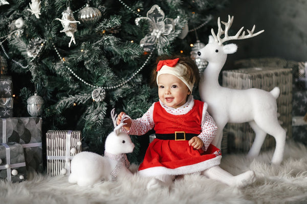 A baby girl dressed in Christmas Clothes sits under a christmas tree