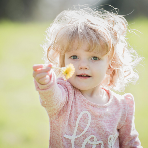 a young girl wears a pink jumper holds out a yellow flower