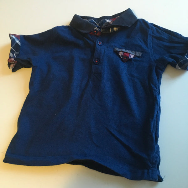 Boys Blue T-Shirt with Checked Sleeve and Collar Trim - Boys 12-18m
