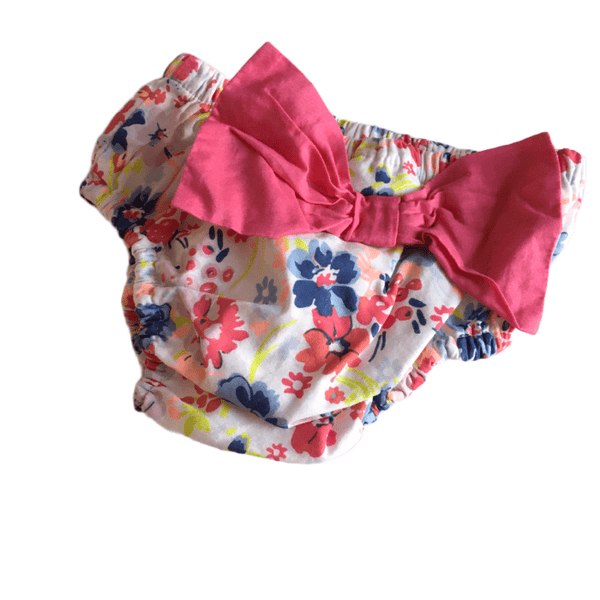 Floral Knickers Nappy Pants with Big Pink Bow - Girls 3-6m