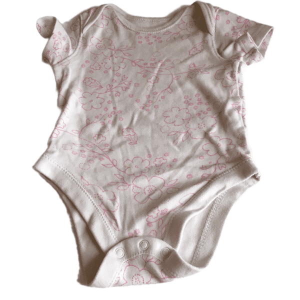 White S/S Bodysuit with Pink Flowers - Girls 3-6m