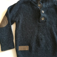 Boys Black Little Rebel Jumper with Brown Elbow Patches - Boys 18-24m