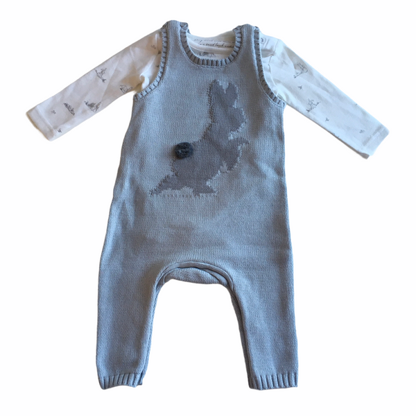 Mothercare Adorable Peter Rabbit Grey Knitted Romper and Bodysuit Outfit - Boys 3-6m