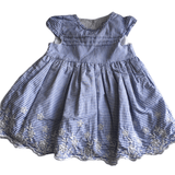 Blue and White Striped Summer Dress - Girls 3-6m