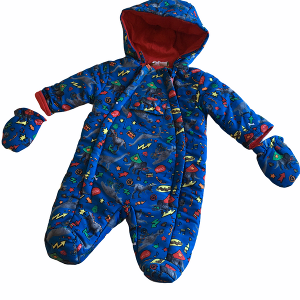 Lily & Jack Baby Boys Blue Graphic Dinosaur Print Snowsuit with Hood - Boys 0-3m