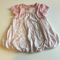 Pale Pink and White Bubble Hem Floral Dress - Girls 0-3m