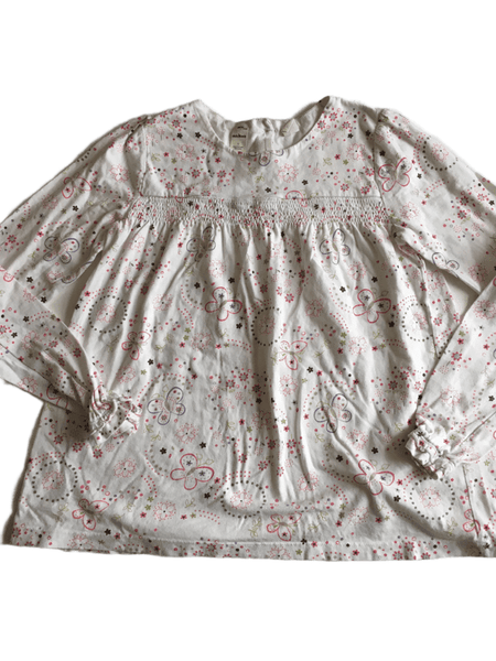 White L/S Top with Flowers and Butterflies - Girls 12yrs