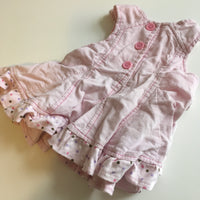 Baby Pink Soft Cord Spotty and Floral Dress - Girls 3-6m
