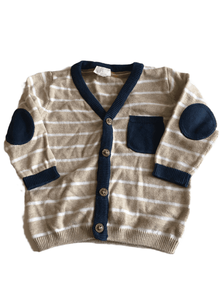 Light Brown and Navy Stripe Cardigan - Boys 4-6m