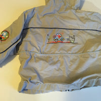 Stone Lightweight Grey Boys Jacket with Hood and Cars Design - Boys 9-12m