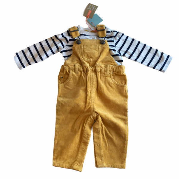 Brand New John Lewis Boys Yellow Corduroy Dungarees and Striped L/S T-Shirt Outfit - Unisex 3-6m