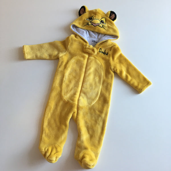 Disney Baby at Primark Yellow Simba The Lion King Velour Onesie Sleepsuit - Unisex 3-6m