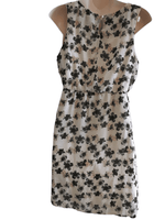 New Look Maternity Cream Sleeveless Party / Occasion Dress with Pink Black Flowers - Size Maternity UK 14