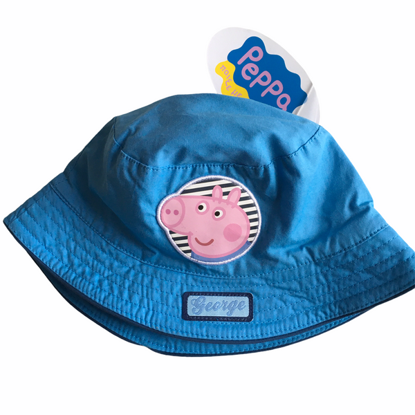 Brand New Peppa Pig George Boys Blue Summer Sun Hat - Boys 48cm 1-2yrs