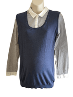 Next Maternity Blue Striped Shirt & Jumper 2 Layer Top - Size Maternity UK 12