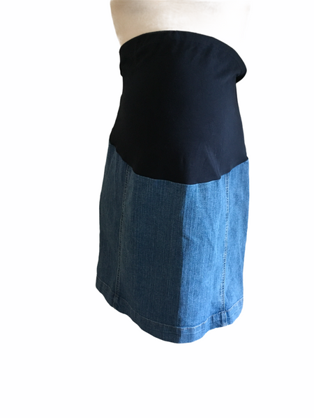 M2B at Mothercare Mid Blue Stretch Denim Over Bump Skirt - Size Maternity UK 18