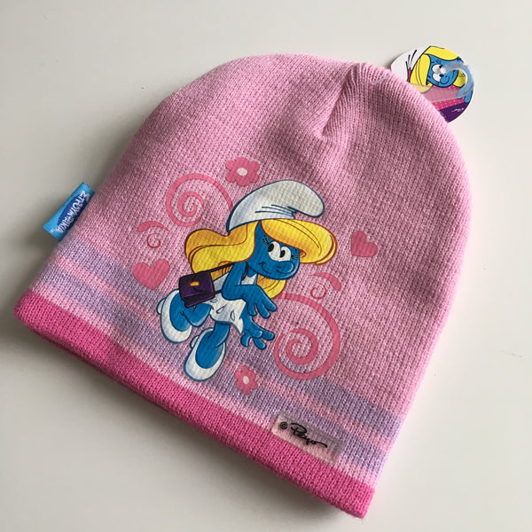 Brand New Girls Pink Knitted Smurfs Beanie Hat - Girls One Size