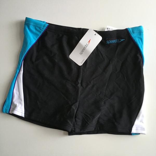 Brand New Speedo Boys Black / Aqua Blue Swimming Trunks Training Shorts - Boys 32'' W - 13-14yrs
