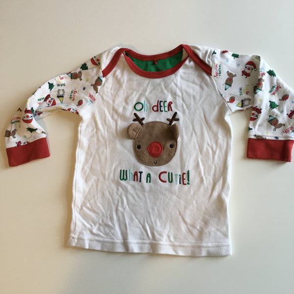 Oh Deer What A Cutie! Reindeer Christmas L/S Top - Unisex 9-12m