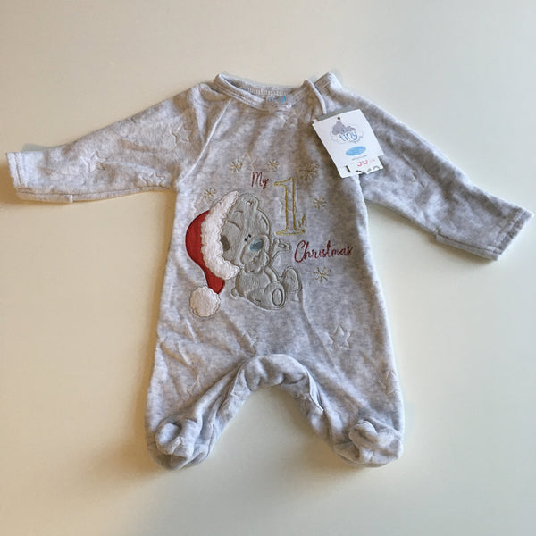 Brand New Tiny Tatty Teddy Grey Velour My 1st Christmas Sleepsuit - Unisex Newborn