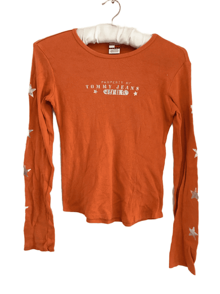 Tommy Hilfiger Girls Orange Tommy Jeans L/S Ribbed Top - Teen Girls
