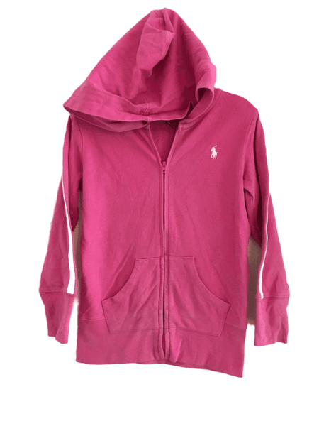 Ralph Lauren Polo Girls Cerise Pink Hoodie Zip Front Jumper - Girls 5yrs