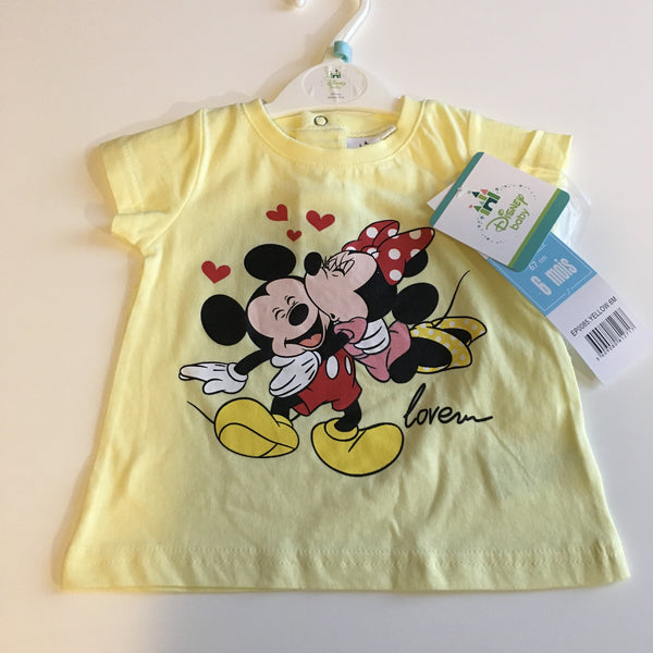 Brand New Disney Baby Mickey and Minnie Mouse Love Yellow T-Shirt - Unisex 6m