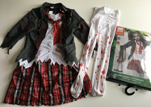 Smiffys Girls Zombie School Girl Halloween Fancy Dress Costume - Girls 7-9yrs