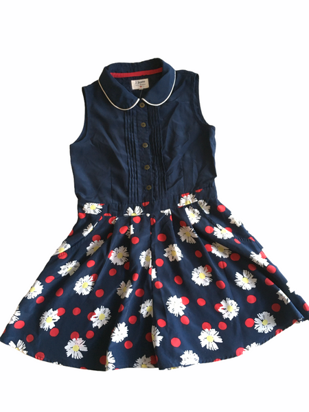 J Jeans by Jasper Conran Girls Navy Blue Floral Sleeveless Summer Playsuit - Girls 8yrs