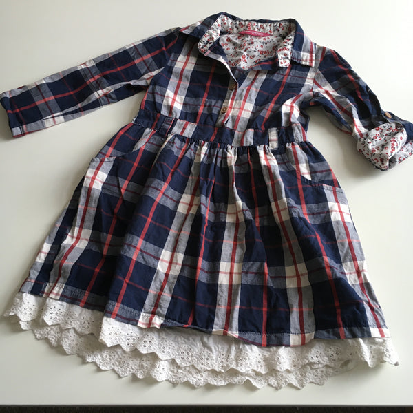 Young Dimension Tartan Check Girls Shirt Dress - Girls 3-4yrs