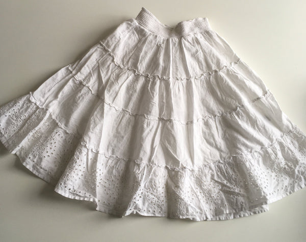 Next Girls White Broderie Anglais Cotton Summer Skirt with Elasticated Waist - Girls 4yrs