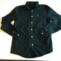 Next Boys Forest Green L/S Shirt with Collar and Red Stag Chest Motif - Boys 14yrs
