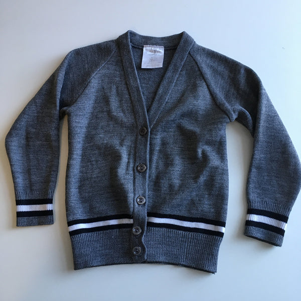 "Early Years Grey School Cardigan with Black and White Stripe - Unisex 24"" Chest 3-5yrs"