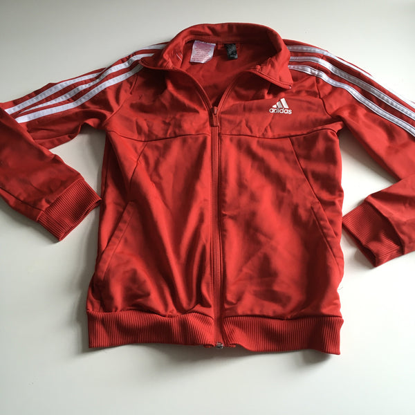 Adidas Red Zip Front Classic Stripe Tracksuit Top - Unisex 9-10yrs